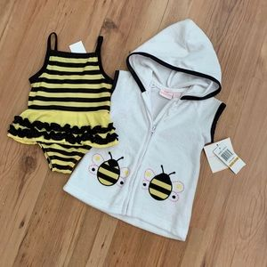 Busy bee 🐝 swimsuit and coverup size 0-3 months